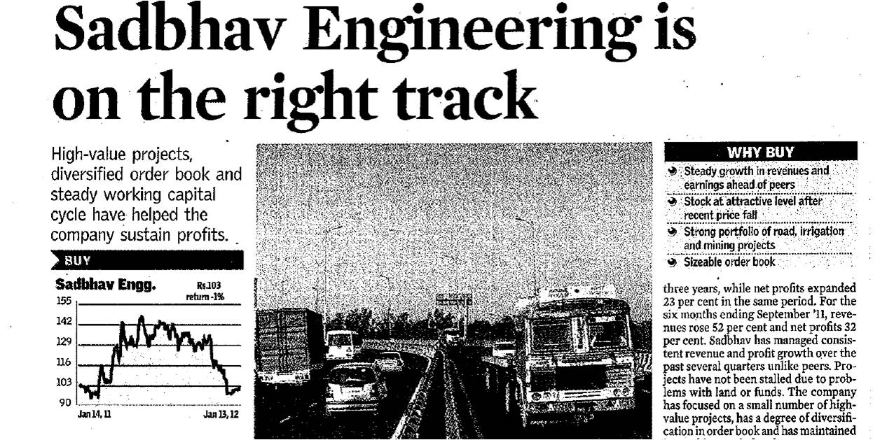 Sadbhav Engineering is on the right track